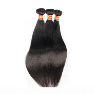 Russian Virgin Hair Straight 3Pcs Lot Russian Silky Straight Human Hair Weave Bundles Cheap Russian Remy Hair Extentions Natural Black 1B