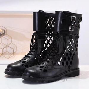 2020 neue sandale Sommermode Sandalen Frauen schnüren sich oben hochgeschnittene hohlen Sandalen mit niedrigen Absätzen atmungsaktive Ledersandalen
