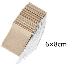 100 Pcs / lot 6 * 8cm Tea Filter Bags Natural Unbleached Paper Tea Bag Disable Tea Infuser Empty Bag with Drawstring Seal Filter Bags