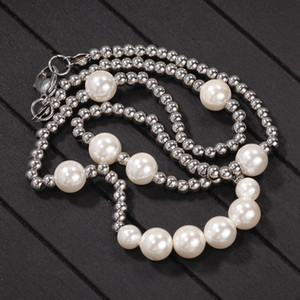 Fashion- Fashion Mens Pearl Necklace Hip Hop Stainless Steel Ball Beaded Necklace Jewelry Clavicle Chain Necklace