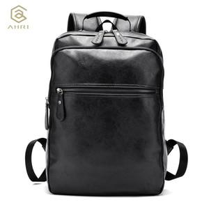 Vente en gros- AHRI Hommes Affaires Casual Sacs à dos pour sac de voyage scolaire Noir PU cuir Hommes Sacs à bandoulière de la mode Vintage Garçons Hommes Backp