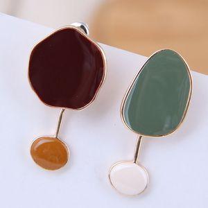 Brincos pendientes de gota asimétricos para las mujeres pendientes de esmalte de joyería de moda de verano Bijoux colorido declaración pendiente