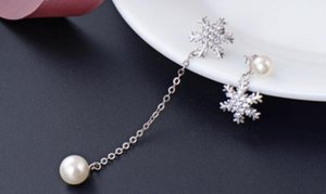 S925 sterling silver pearl ear stud female fashion diamond set zircon long pendant earrings headpiece ornaments