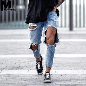 Moomphya 2019 New Distressed Big Trous Skinny Jeans Hommes Streetwear Hip Hop Hommes Déchiré Jeans Denim Pants Élégant Hommes Bleu