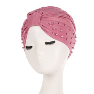 Fashion Solid Women Cotton Turban Hijab Beading India Caps Elastic Muslim Hat Chemo Caps Headwraps Soft Female Muslim Hijab Caps Sweet07