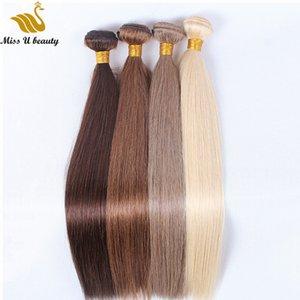 플래티넘 금발의 표백제 금발 인간의 머리카락 분홍색 빨강 파랑 보라색 빛의 색상 머리를 높은 품질의 3 번들 머리에 의하여 길쌈합니다 씨실
