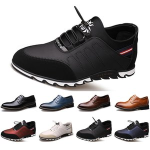 2020 New Arrival Designer men leather casual shoes black navy blue brown Business fashion platform flat party mens trainers sneaker color9