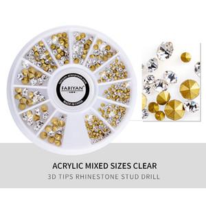 Nail Art Rueda de acrílico mezclados Tamaños Claro decoración 3D Consejos Rhinestone Stud Taladro Shine cono de cristal del brillo de manicura Accesorio