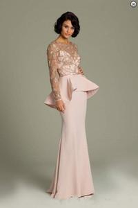 Yeni Promosyon Pembe Dantel Uzun Kollu Abiye Sheer Altın Aplike Balo elbise Peplum Tam Boy Şifon Örgün Elbise balo