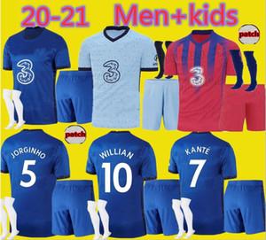 Yetişkin ve çocuklar 2020 2021 WILLIAN LAMPARD Odoi PULISIC futbol forması BOYS 20 21 Jorginho GIROUD erkekler çocuk futbol takımları gömlek set