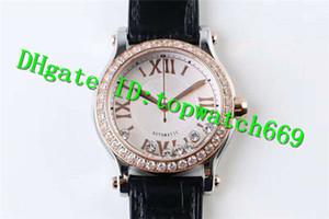 TW Luxo Senhoras Relógio FELIZ DIAMANTES 274808-5001 Assista 2892 Automatic 18KRose Caso Ouro Branco Dial Diamante Bezel bezerro cinta Mulheres Relógio
