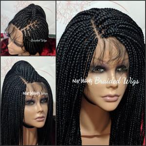 Vente en gros Perruques avant synthétique Tressé dentelle main bon marché Tied Boîte Braid perruques avec bébé cheveux résistant à la chaleur pour les femmes afro-américaine