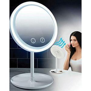 3 in 1 LED-Lampe Kosmetikspiegel mit 5-facher Vergrößerungs Fan Beauty Breeze Kosmetikspiegel Desktop-halten die Haut kühlen Schönheit LED-Licht-Spiegel VT0418