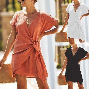 Шея Одежда с орденскими лентами Лета женщин Pure Color Платье обшитых панели с коротким рукавом платьем Повседневного Sexy V