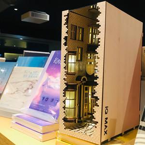 Madera libro Nook inserciones Arte sujetalibros DIY estante Decoración Decoración Stand estilo japonés luz kit modelo de construcción