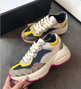 2020 new fashion designer shoes fashion men's and women's printing couple ebony casual shoes thick soled dad shoes real shoe 0237