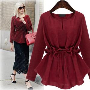 New Europe Fashion Women's Plus Size T-shirt Lace Long Sleeve Sim Waist Cotton Linen Tops Tee Lady Casual Tshirts Blouse C4113