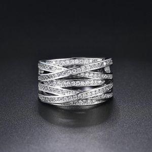 Platin überzug Ring Für Frauen Elegante Stil CZ Kristall Aushöhlen Splitter Farbe Engagement Modeschmuck Klassische Geschenk Hochzeit Ringe