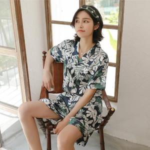 Yaz Saten Pijama Kadınlar Sahte İpek Yumuşak Kısa Kollu Üst ve Şort kıyafeti Sleepwear Retro Çiçek Baskı Homewear Pijamas