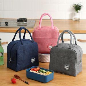 7 couleurs sac à lunch sac à fourre-tout portable sacs thermiques imperméables boîte à lunch de la fermeture à glissière Sacs de rangement Bento sac de pique-nique en plein air Sac thermique