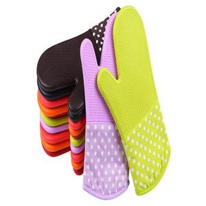 Guantes de silicona Horno aislamiento de calor Moda Espesados de gran tamaño de los guantes mitones del horno microondas de aislamiento de calor seguro para hornear WY229Q