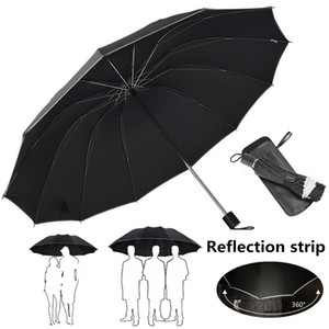 Grande guarda-chuva dobrável Homens chuva Mulher 3 Fold Umbrella Automatic Windproof guarda-chuvas 10/12 costelas Parasol chuvoso ensolarado