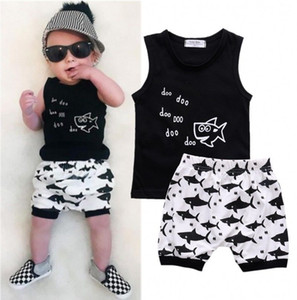 Kids Cartoon Shark Print Clothing Sets Summer Baby Clothes For Boys Outfits Toddler Vest + Shorts Children Suits