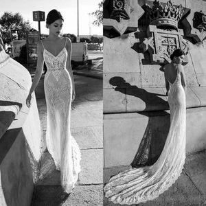 Gali Karten 2020 Mermaid Full Lace Wedding Dresses Sexy Spaghetti Straps Open Back Sheer Bridal Gowns Court Train