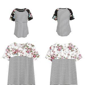 Stripe Mom T Shirt Summer Women Splicing Lactating Garment Printing Multi Function Cotta Simple Fashion Practical Soft 22yy D1