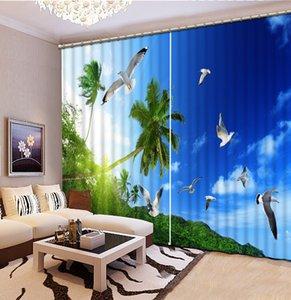 Fenêtre ombre 3D Rideau occultant Rideaux oiseau bleu ciel Rideaux pour Salon Chambre Salle de bains 3D rideau de douche