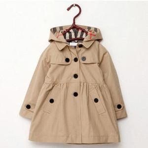 Nuovo Abbigliamento per bambini Girl Autumn Principessa cappotto solido di colore medio-lungo monopetto trincea bambino Outerwear