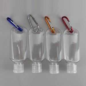 50ml o frasco vazio do álcool e recarregáveis com anel chave de gancho claro transparente frasco plástico Hand Sanitizer Para Garrafa de viagem