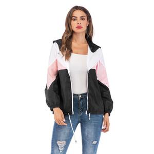 Frauen Designer Mäntel Jacken Luxus Jacke neue Nähte Kontrastfarbe Kordelzug Kapuze Frauen Designer Reißverschluss Jacken