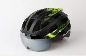 CoolChange Casque de vélo avec la lumière coupe-vent Lunettes Casque de vélo VTT Insect Net Moulé Hommes Femmes Intégralement Casque de vélo
