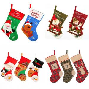 Sac bas de Noël en tissu rayé Chaussettes Elk Cartoon Père Noël cerf Stocking arbre de Noël Hanging Décoration Sac de bonhomme de neige Père Noël sac-cadeau