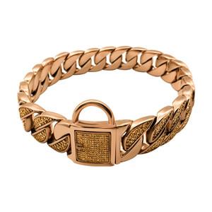 Leash Dog Collar qualidade em aço inoxidável de cristal Leash Strong Collar Dog Pet chumbo 11 tamanhos pequeno Big