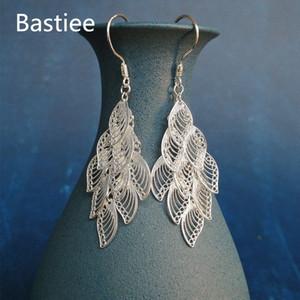 Bastiee 999 Gümüş Tüy Küpe İçin Kadınlar Güzel Takı Kutusu El yapımı Miao Gümüş Küpe Hediye Dropshipping