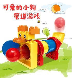 15Pcs Kids Puppy Pipe Game Toy Intelligence Creative Building Blocks DIY Bricks Cute Animal Dog For Kids Boys Toy Gift