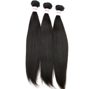 Virgin Peruana Remy Cabello Trama Tejido Recto Sedoso Longitud de la mezcla 3pcs / lot 10inch a 28inch stock Nice Cheap Human Hair Bundle Salon Beauty