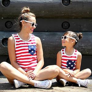 Bandeira dos EUA Mãe Mommy and Me Família Filha Mesma roupa T-shirt Casual Vest Tops T Verão