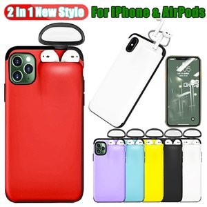 2 in 1 Earphone Phone Case For iPhone 11 XR XS Wireless Earphone Case For Airpods iPhone 8 7 6 Plus Silicone Protective Case