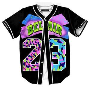 حار البيسبول جيرسي تي شيرت Belair 23 3D طباعة قصيرة الأكمام الرجال القميص زر قميص يتأهل الهيب هوب معطف QF04