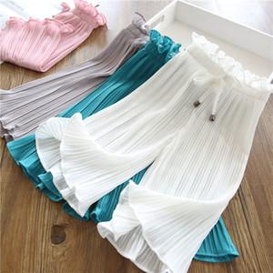 pantalones de los niños del verano de 2019 nuevas niñas casuales pantalones de pierna ancha de encaje pantalones casuales anti-mosquito de la cintura del bebé