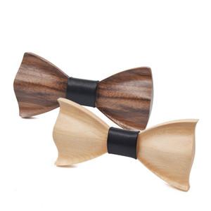 Erkekler Parti Ahşap Bow Kravatlar 3D DIY kravat Siyah Ceviz El Yapımı için Düğün Tie Ahşap Bow Tie