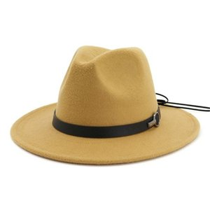 Men Women Wool Felt Jazz Fedora Hats Latest Flat Brim Trilby Panama Style Party Cap Outdoor Large Brim Sunshade Hat Wholesale HN339