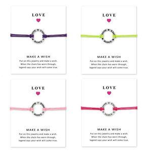 Pulseras Love DANCE con tarjeta de regalo Girls Round Charm infinity Make a Wish Bangle para mujeres Accesorios de joyería de moda