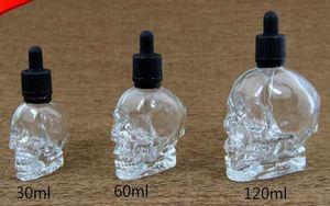 vape E 주스 병 120 ml 두개골 유리 Dropper 병 어린이 증거 병 뚜껑 분명 컬러 사용자 지정 로고와 함께
