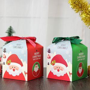 Caja de regalo de Nochebuena Merry Xmas Fruit Candy Caja de papel de regalo colorida con cinta Cartoon Santa Claus Cookie Wrapping Packaging