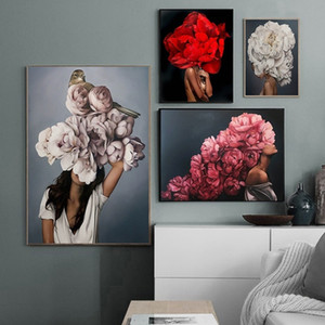 Floral Feather Woman Fashion Figure Oil Painting on Canvas Sexy Nude Girl Poster Prints Abstract Wall Art Picture Modern Room Decor