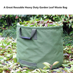 Garden Lawn Leaf Yard Waste Bag Container Tote Gardening Trash Reusable Heavy Duty Canvas Fabric 33 Gallon (Green)